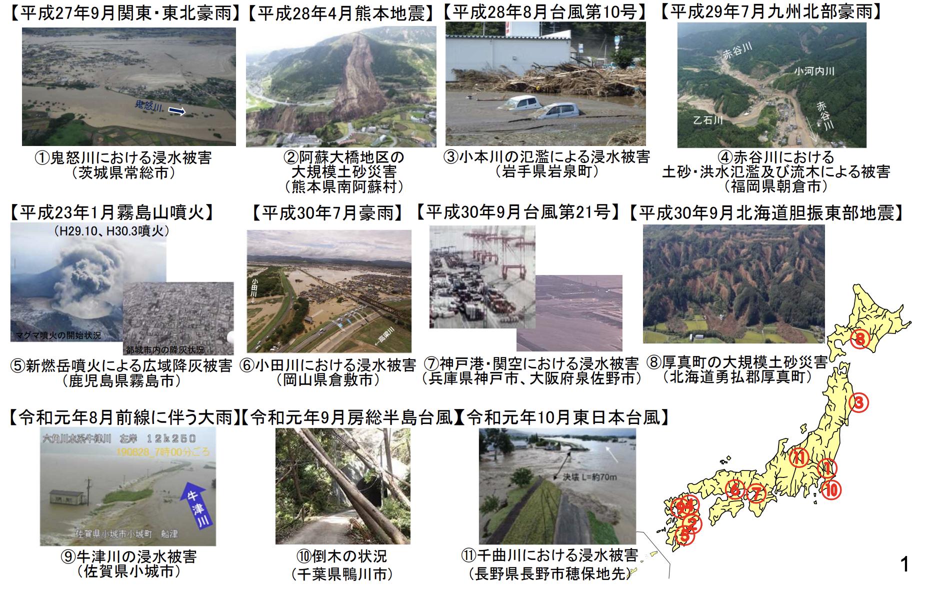 近年における自然災害の発生状況